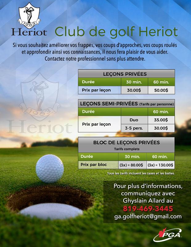 Cours de golf - saison 2020